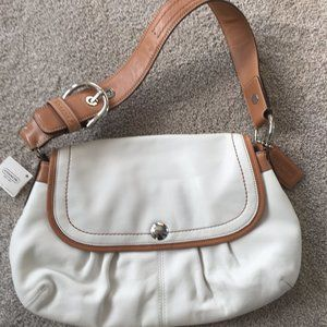 Coach Leather Shoulder Bag White NWT